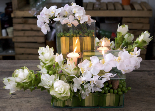 white curcuma centerpiece
