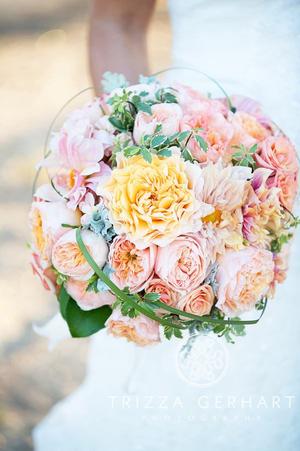 peach bridal bouquet with dahlias and roses
