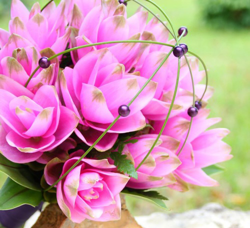 pink curcuma bridal bouquet
