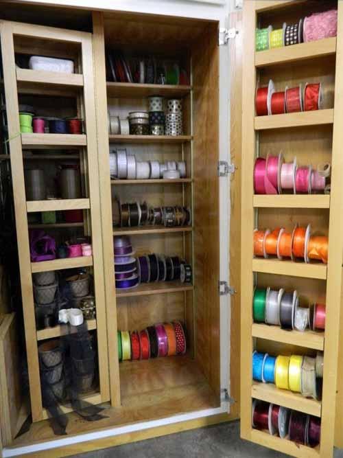 storage racks of ribbon