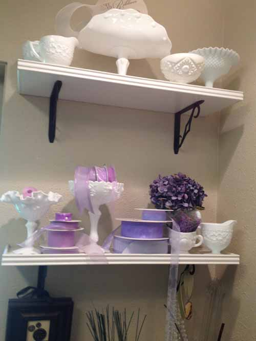 shelves with ribbon storage
