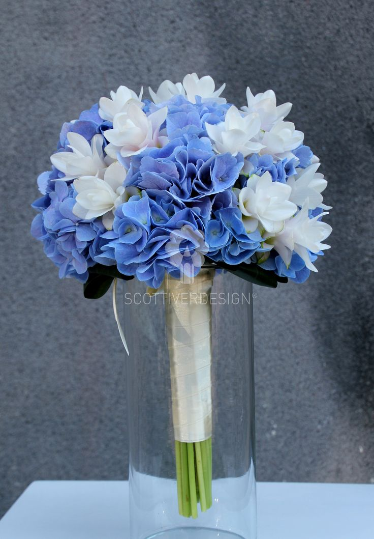 blue hydrangea and white curcuma bouquet