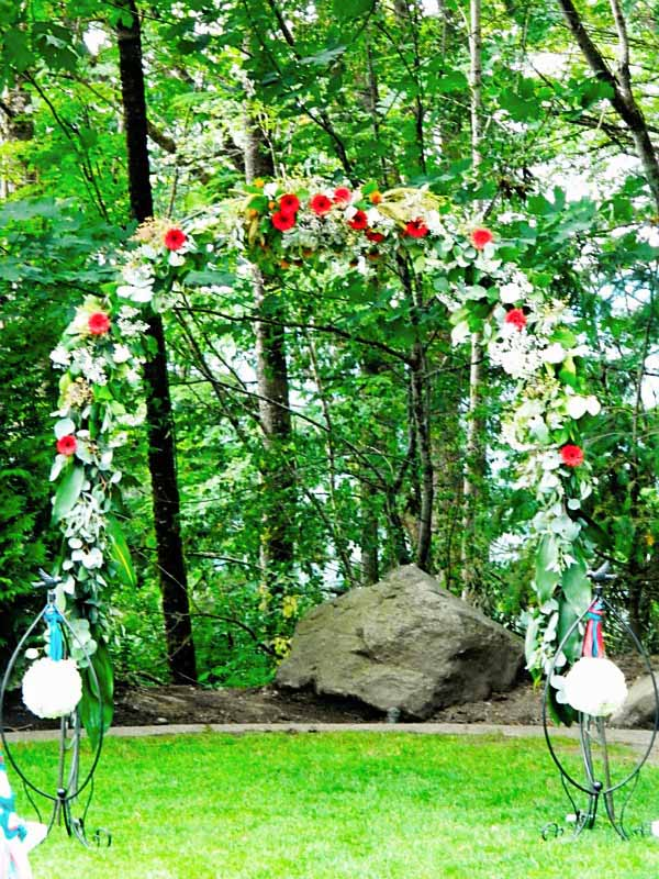 arch covered in flowers