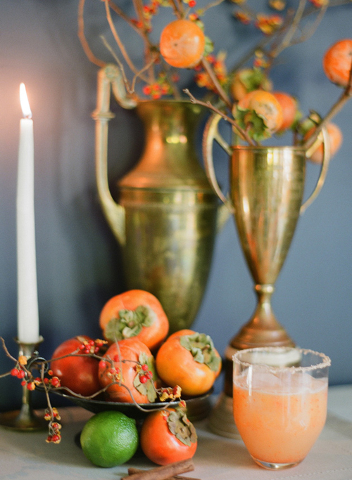 persimmons and gold urns