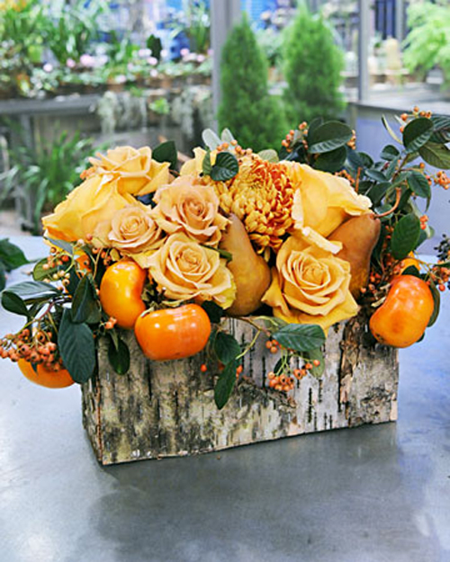 combo roses persimmons pears and berries