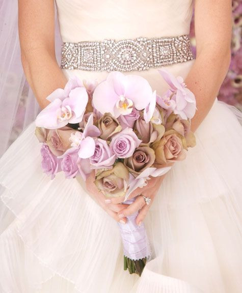 purple rose and orchid bridal bouquet
