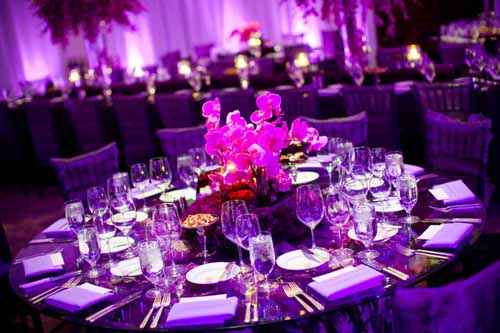 Purple modern centerpiece for a wedding