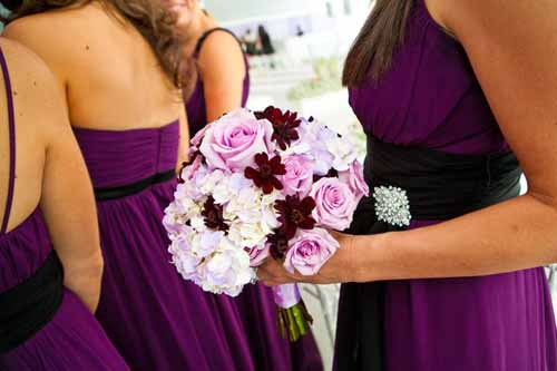 lavender and chocolate bridal bouquet