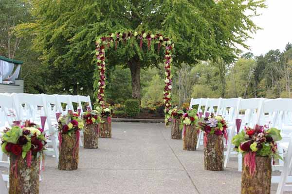 red and green flower garland