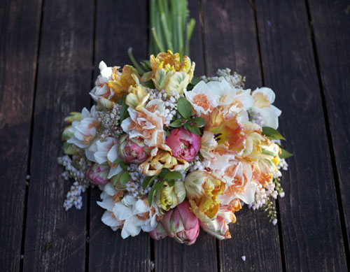 Designed by Alicia Schwede of Bella Fiori, bridal bouquet of tulips, daffodils and pieris japonica