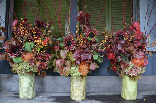 brown and copper flower arrangements