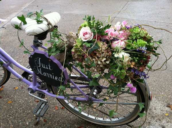 bike with flowers on back