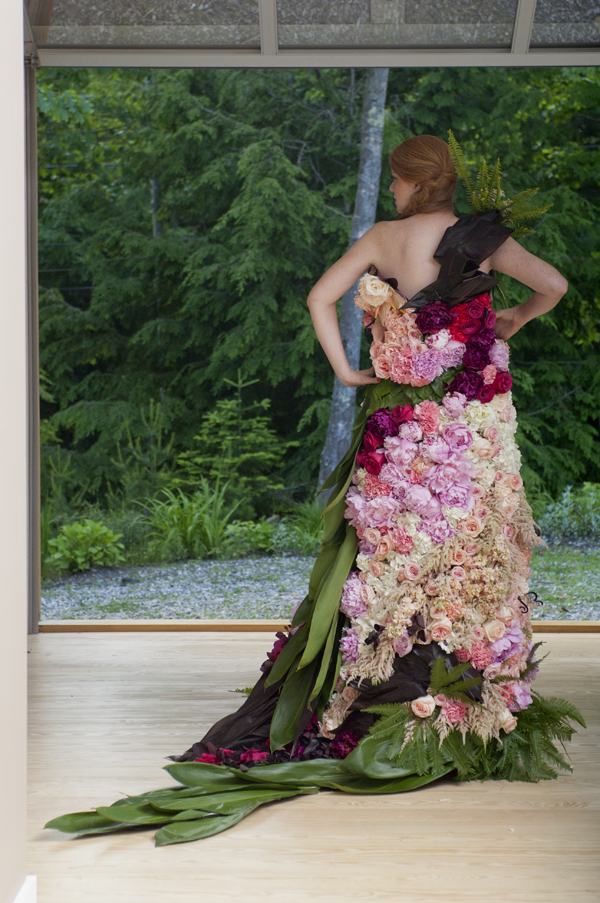 dress designed out of flowers