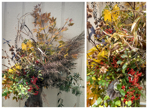 all berry and leaf floral display