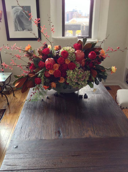 fall roses and hydrangeas flower arrangement