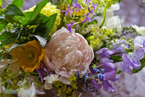 sweetpeas lavender peonies