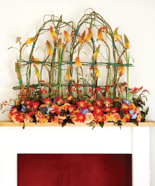 mantle decoration of orange flowers
