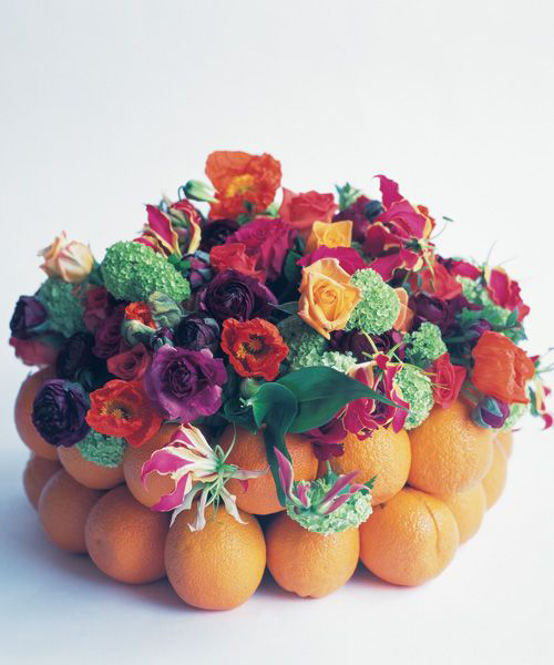 flowers and oranges for a display