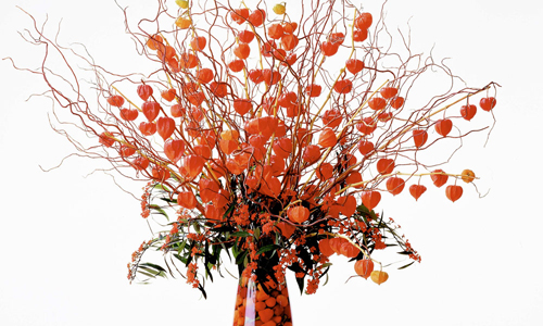 orange fall flower arrangement