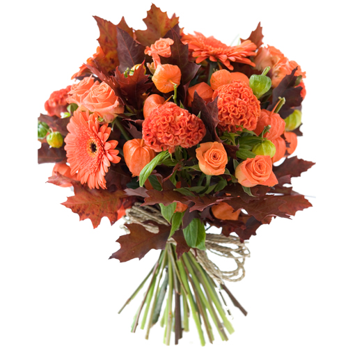 handtied bouquet of orange fall flowers