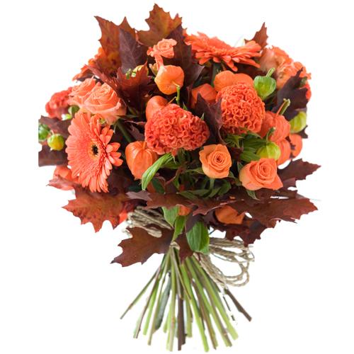 handtied bouquet of orange fall flowers