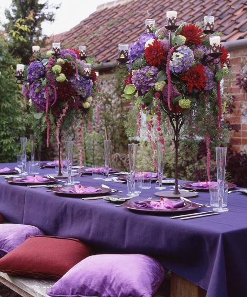 purple and burgundy flower arrangements