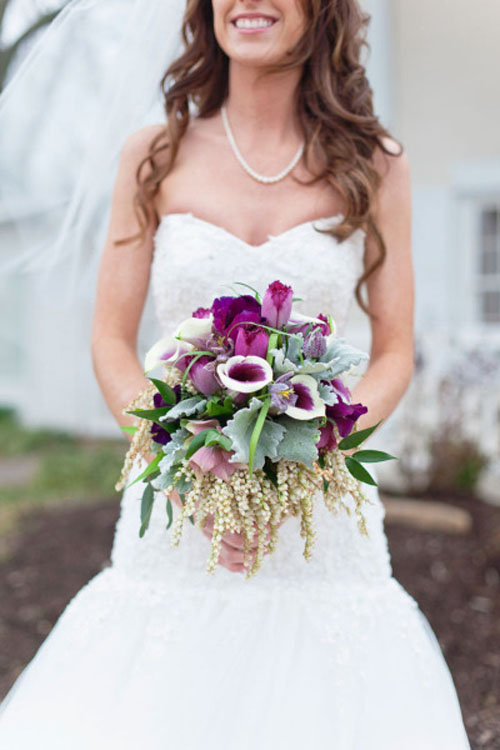 purple tulip, picasso calla lily, fritillaria and hellebore bridal bouquet