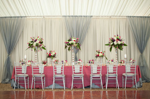 pink and blue wedding reception