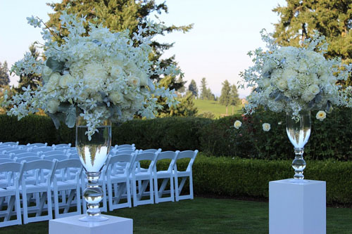 large white floral designs for wedding ceremony