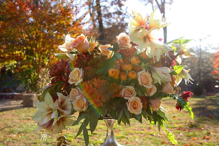 fall flower arrangement with amaryllis