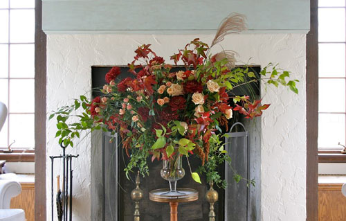 large fall arrangement in an urn
