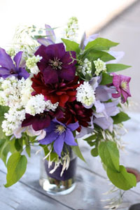 clematis and lilac bouquet