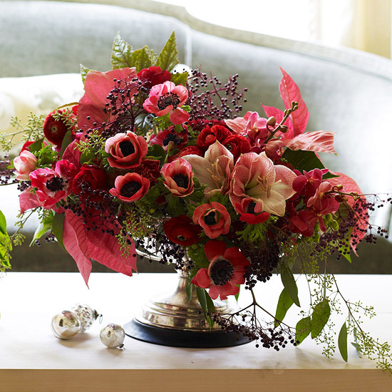 pink amaryllis, anemones and poinsettias