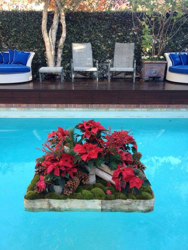 Holiday Pool Float with poinsettias Los Angeles