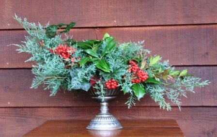 winter foliage with berries centerpiece