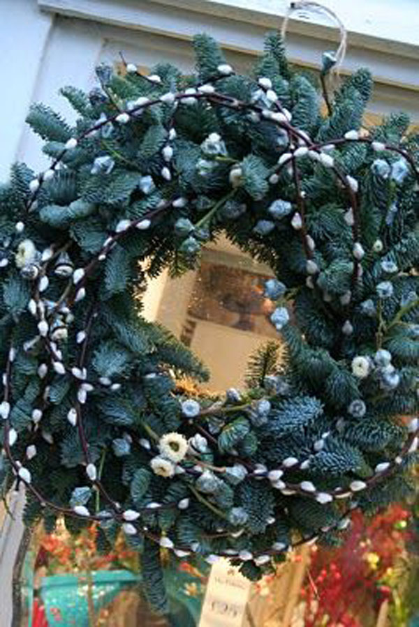 Blue Spruce and pussy willow holiday wreath