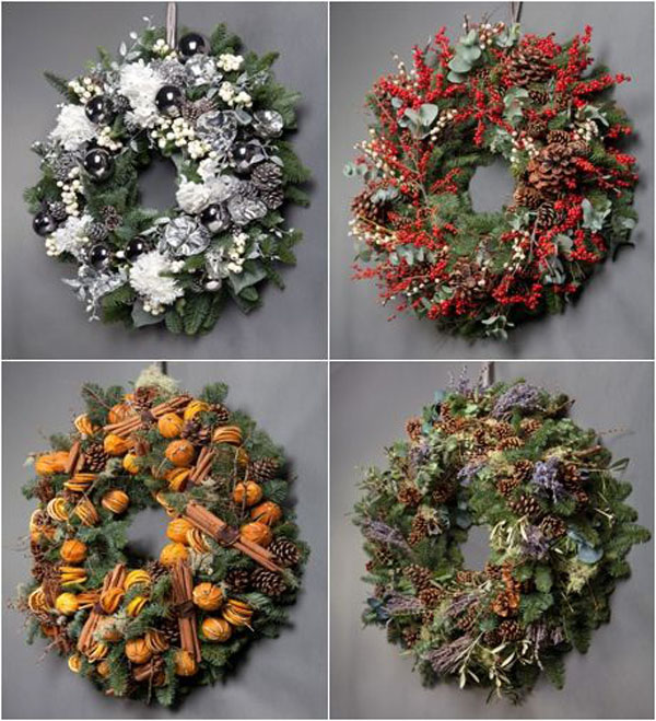 christmas wreaths by London designer