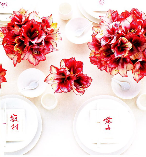red and white amaryllis centerpieces