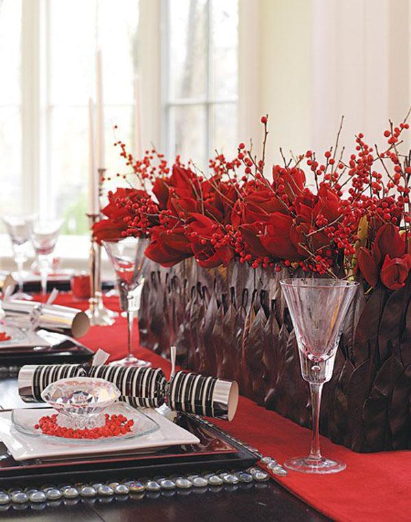 red amaryllis and ilex berry centerpiece
