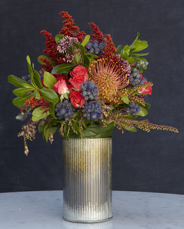 textured orange flower arrangement