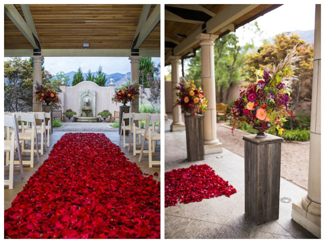 red aisle petals by Cori Cook Floral Design