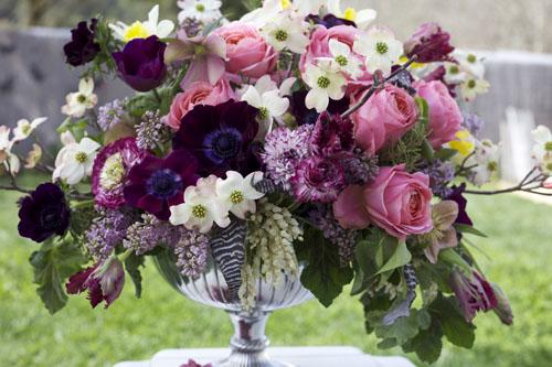 Bella Fiori - burgundy, pink and white opulent arrangement