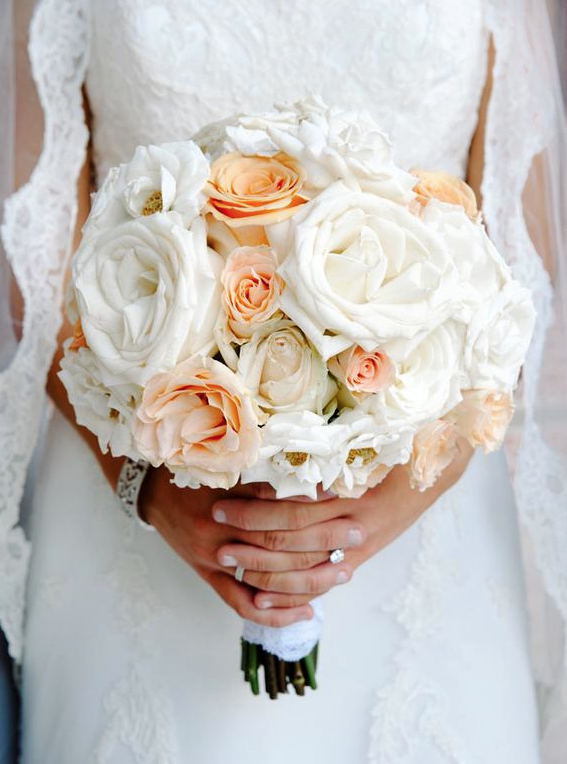 peach and white rose bridal bouquet by Andrea Layne Floral Design