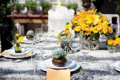 yellow and grey wedding reception by Bloom Denver
