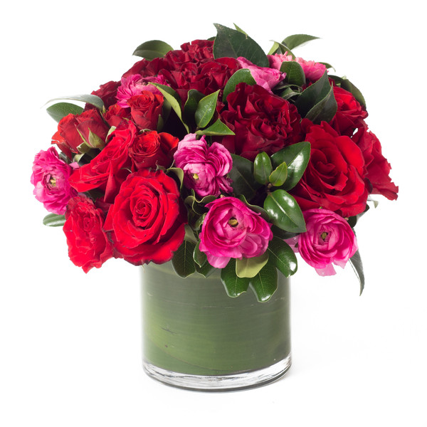 pink, red green flower arrangement