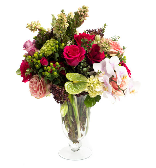 green and red pink flower arrangement