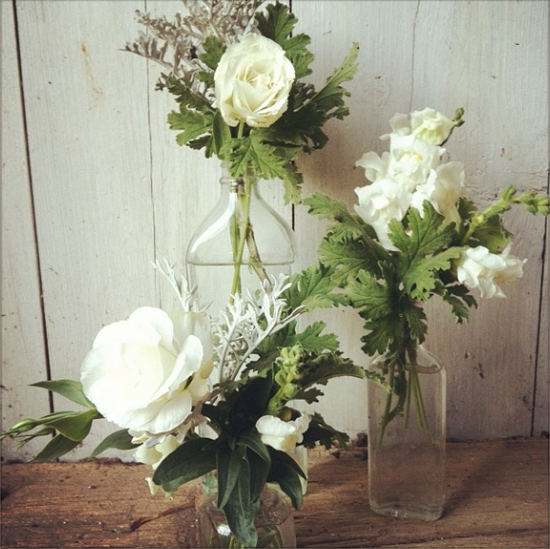 Buckeye Blooms, Vintage Floral Design with bottles and white flowers
