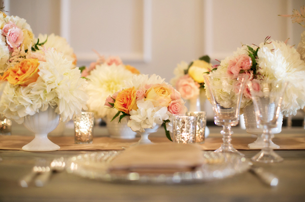 blush, peach and white centerpieces in mercury glass
