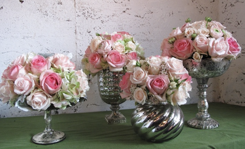 Robin Hollow Farm, pink flowers in silver mercury glass containers