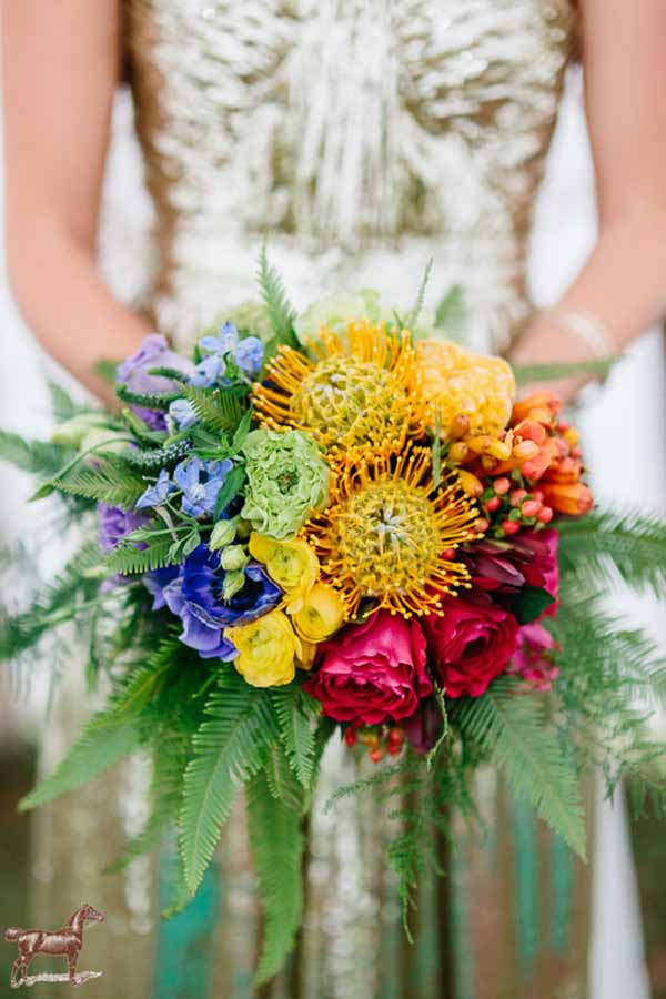 Valley Flower Company - rainbow colored bridal bouquet